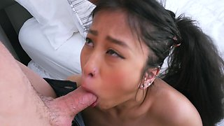 Bitch can endure cock in both her Asian holes
