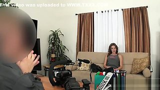 stunning brunette gets bent over on couch