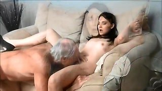 60yo father with big cock fucks his real 18yo hairy daughter with creampie