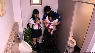 Petite japanese schoolgirls fuck in bathroom