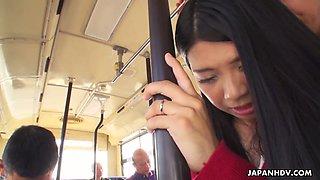 Kawaii quite buxom Japanese gal Aimi Nagano is gangbanged in the bus