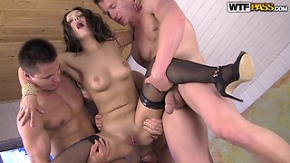 Brunette Gets Her All Holes Fucked Hard In Foursome Dp