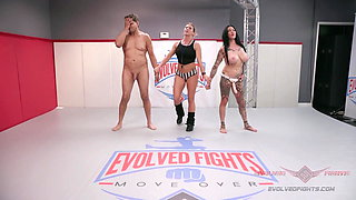 Jen Hexxx bites Racker's balls in this naked wrestling match