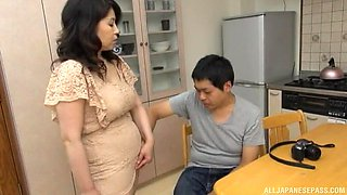 Hairy pussy Japanese mature gets fucked by a younger neighbor
