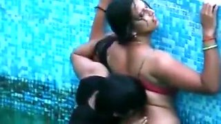 Indian aunt in pool bra and panty