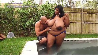 Horny ebny plumper with massive milk jugs is about to be a very naughty lady