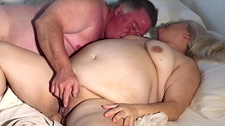 English old couple with big bellies fuck in homemade video