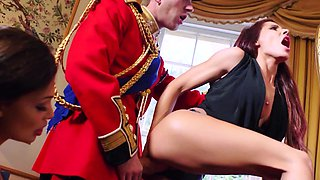 Two sexy sluts are getting fucked in the royal palace by a horny guard
