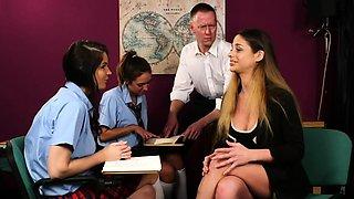 Cfnm teacher and students jerk dick