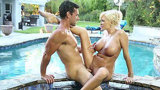 Massage and sex by the poolside with bewitching pornstar