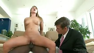 Wife makes husband watch as she cuckolds with a black guy