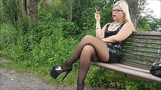 Mariella Outdoor Smoking in Latex, Stockings, and Heels