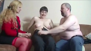 Husband fucks mature milf in front of his busty wife