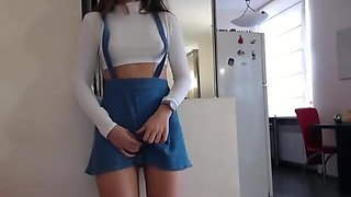 Babygirl step daughter teasing with her short skirt
