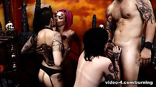Nikki Hearts & Anna Bell Peaks & Leigh Raven & Chad Alva in Cindy Queen of Hell Part 4 - BurningAngel