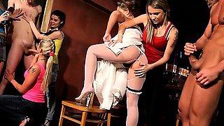 18yo bride Sandra fucks a lucky CFNM stripper at her CFNM