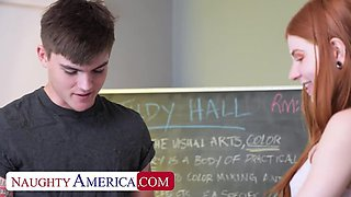 Naughty America: Super hot and slutty redhead Jane Rogers fucks in the classroom on PornHD