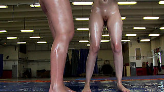 Euro lesbians wrestling while naked and oiled