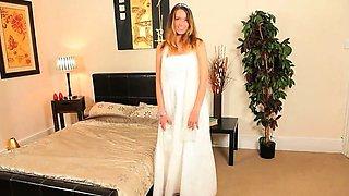 Super cute white lingerie of sexy bride