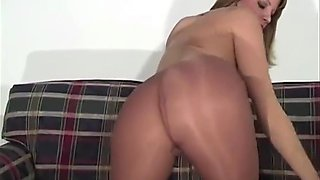 Perfect Pantyhose Pussy In Ultra Shiny Suntan Tights HOT
