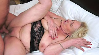 Wild granny in black needs to satisfy her handsome young man