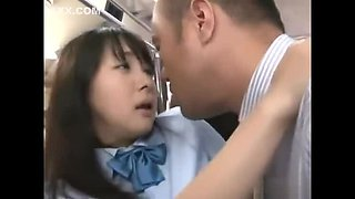 Thirsty Japanese school girl fucked on a crowded bus