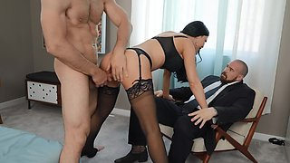 Dark haired British MILF riding a perfect cock at home