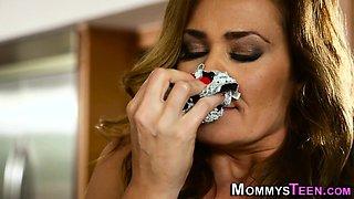 Panties sniffing stepmom