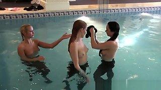 3 British Girls Strip Pool