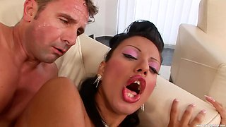 Wife Kyra Black in white stockings and lingerie gets drilled