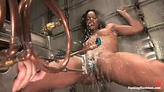 Ebony Marie Luv Gets Her Lubricated Cunt Banged by Machine