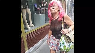 Sexy granny flash pussy in public
