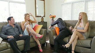 Dirty whore wife Astrid Star arranges crazy swinger party at home