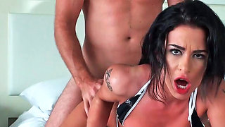 Adriana Lynn giving deepthroat and getting plowed in her meaty vagina