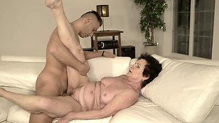 Naked granny still in great shape for fun with her young lover