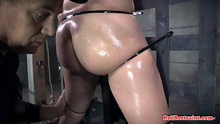 Curvy bound slave gets pussytoyed by dom