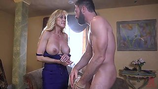 blonde with big boobs gets an extreme cock-ride on the couch
