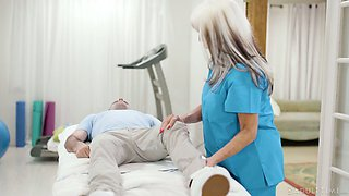 Horny mature nurse with giant boobies Sally Dangelo rides patient's dick