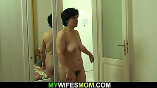 Cheating sex with hairy-pussy old mother-in-law