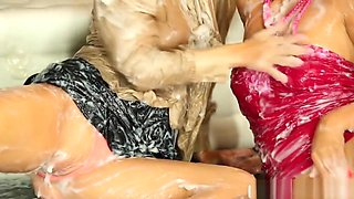 Classy lesbians at the gloryhole get drenched