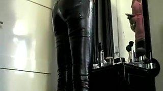british dark brown in shiny panties