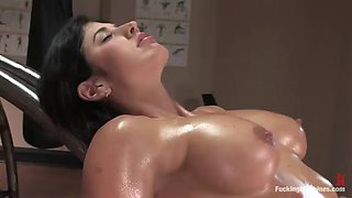 an amazing time fucking machines for a hot brunette