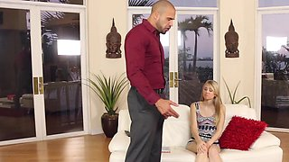 A black dude with large muscles is ramming a delicious little blonde