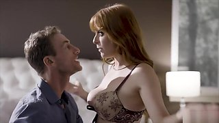 Busty redhead cheating wife caught between two cocks