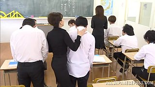 Two Japanese teachers show their blowjob skills to their colleagues
