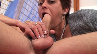 Old granny riding neighbour's big cock