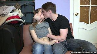 Teen Couple, Guy Seducing Blonde Babe