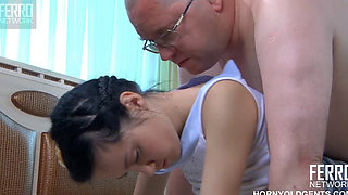 Fat old man fucks his daughter while reading a book