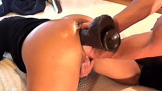 Triple Fist and Dildo Fucking Wifes Giant Pussy