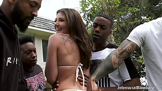 Slender bitch Adria Rae is ready for steamy oral gangbang with lots of studs